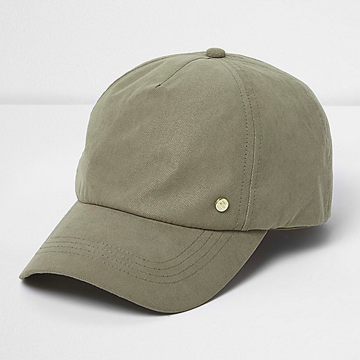 Khaki green embellished cap