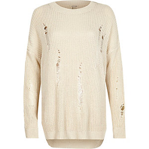 Cream ladder knit sweater