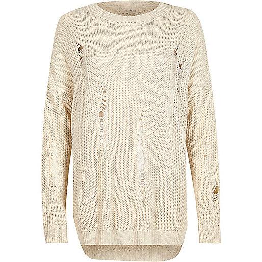 Cream ladder knit jumper
