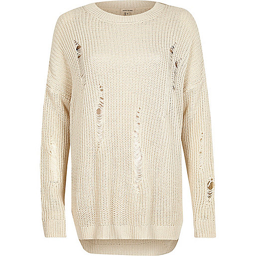 Cream ribbed knit sweater