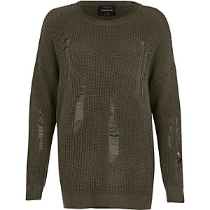 Dark grey ribbed knit jumper