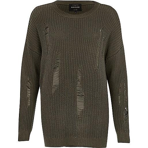 Dark grey ribbed knit sweater