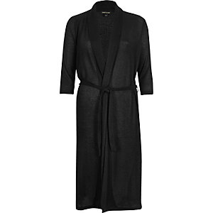 Black knit belted longline cardigan