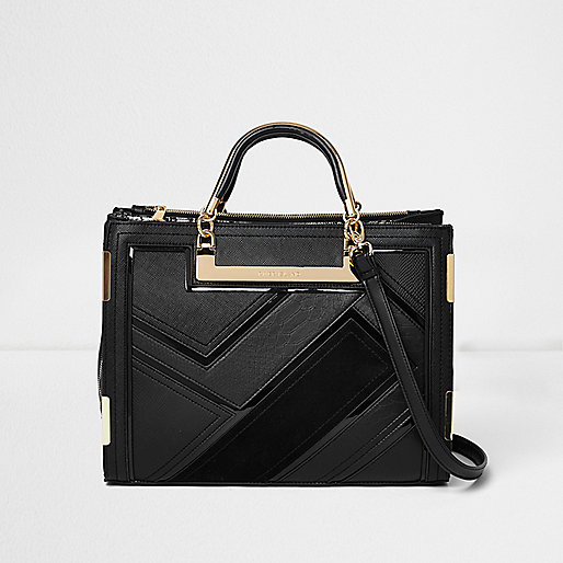 Black metallic handle panel tote bag