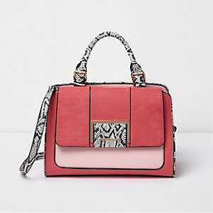 Pink two tone snake print tote bag