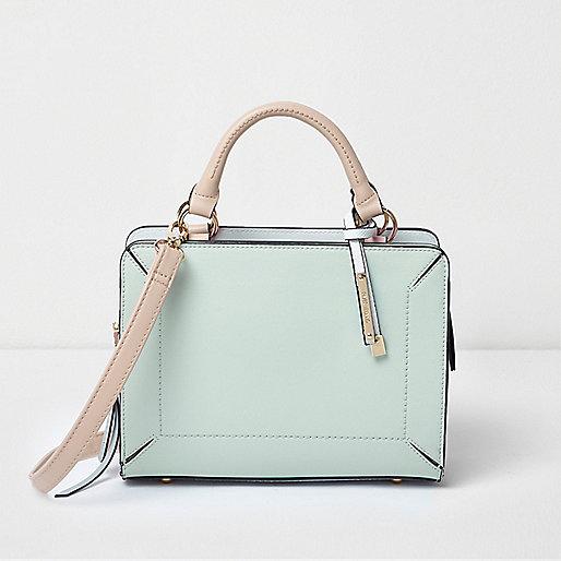 Mint green boxy mini tote bag