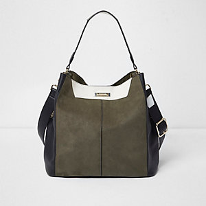 Khaki contrast slouch bag