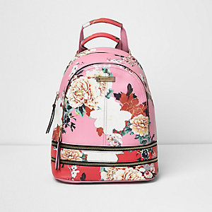 Pink and red floral zip backpack