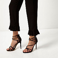 Black glitter wide fit caged sandals