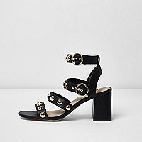 Black stud block heel sandals