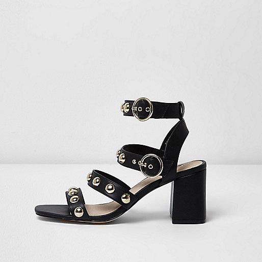 Black stud block heel sandals