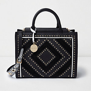 Black large stud and eyelet tote bag