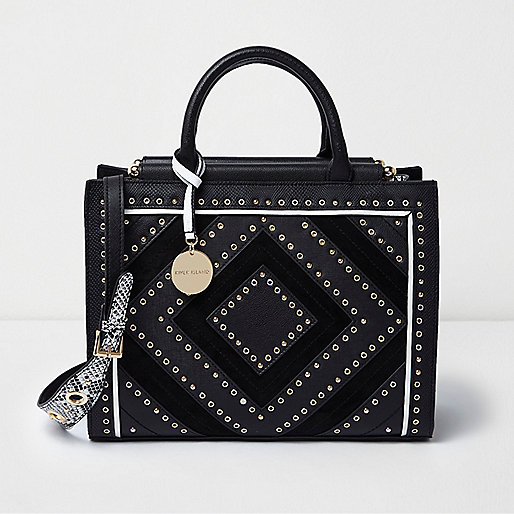 Black large stud and eyelet tote bag