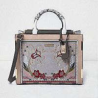 Beige floral print stud detail tote bag