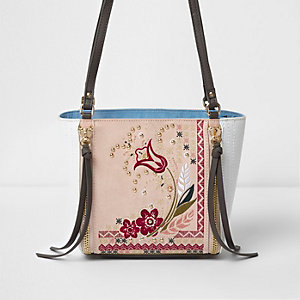 Pink floral embroidered bucket bag