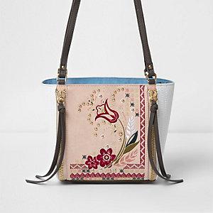 Pink floral embroidered bucket bag
