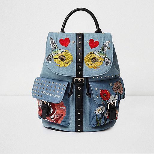 Light blue denim embroidered backpack