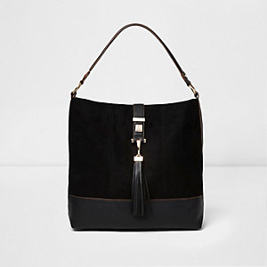 Black tassel strap slouch bag