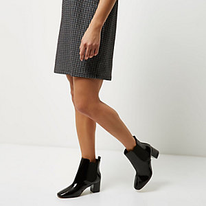 Black patent wide fit heeled Chelsea boots
