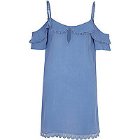 Blue cold shoulder frill dress