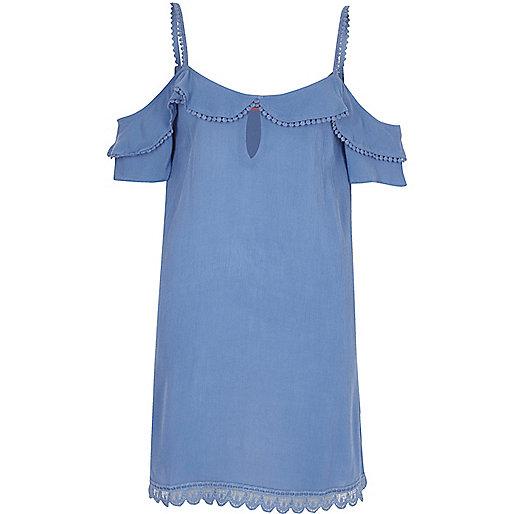 Blue cold shoulder frill dress