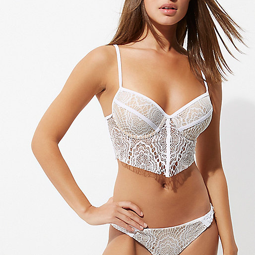 White and nude lace longline bikini top
