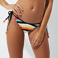 Bas de bikini au crochet rayé noir noué sur le côté