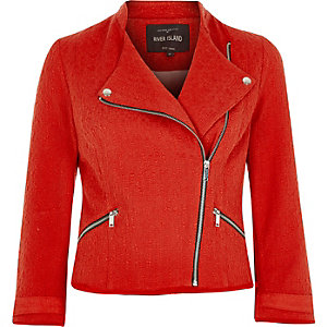 Red boucle biker jacket