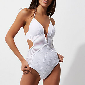 White stripe panel plunge swimsuit