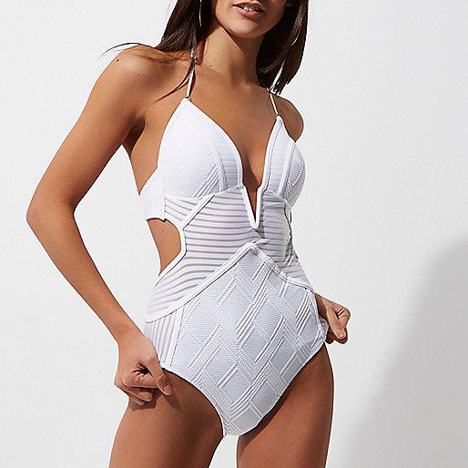 White stripe panel plunge swimsuit