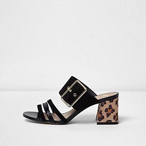 Black strappy contrast heel mules