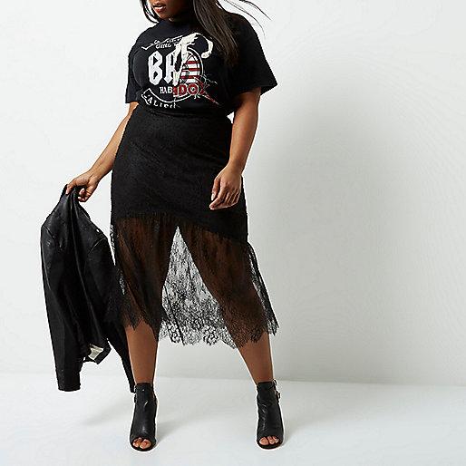 Plus black lace maxi skirt