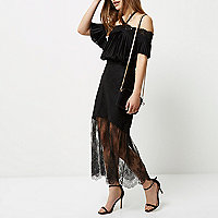 Petite black lace maxi skirt
