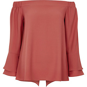 Dark pink trumpet sleeve bardot top