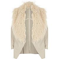 Cream faux fur trim fallaway jacket