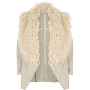 Cream faux fur trim fallaway jacket
