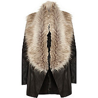 Black faux fur collar fallaway jacket