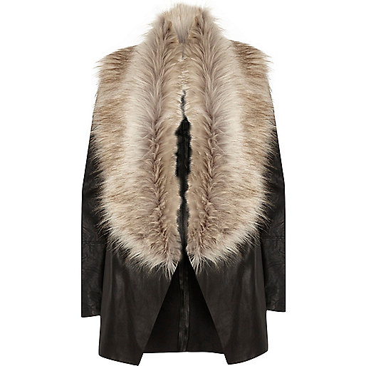Black faux fur collar fallaway jacket