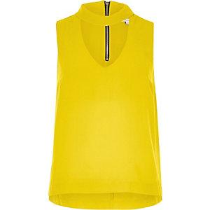 Yellow satin choker top