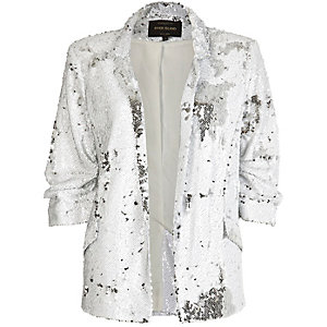 White sequin blazer