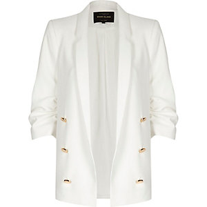 White smart open blazer