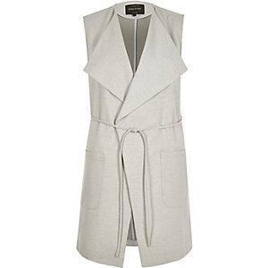 Grey sleeveless fallaway jacket