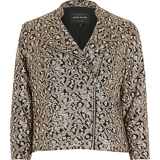 Gold leopard print sequin biker jacket