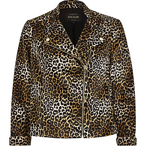 Brown leopard print soft biker jacket