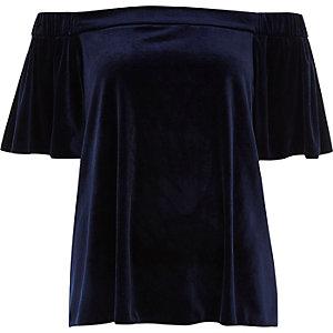 Navy blue velvet bardot top
