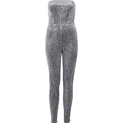 Metallic grey sequin bandeau jumpsuit