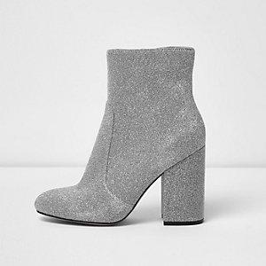 Silver glitter block heel sock boots