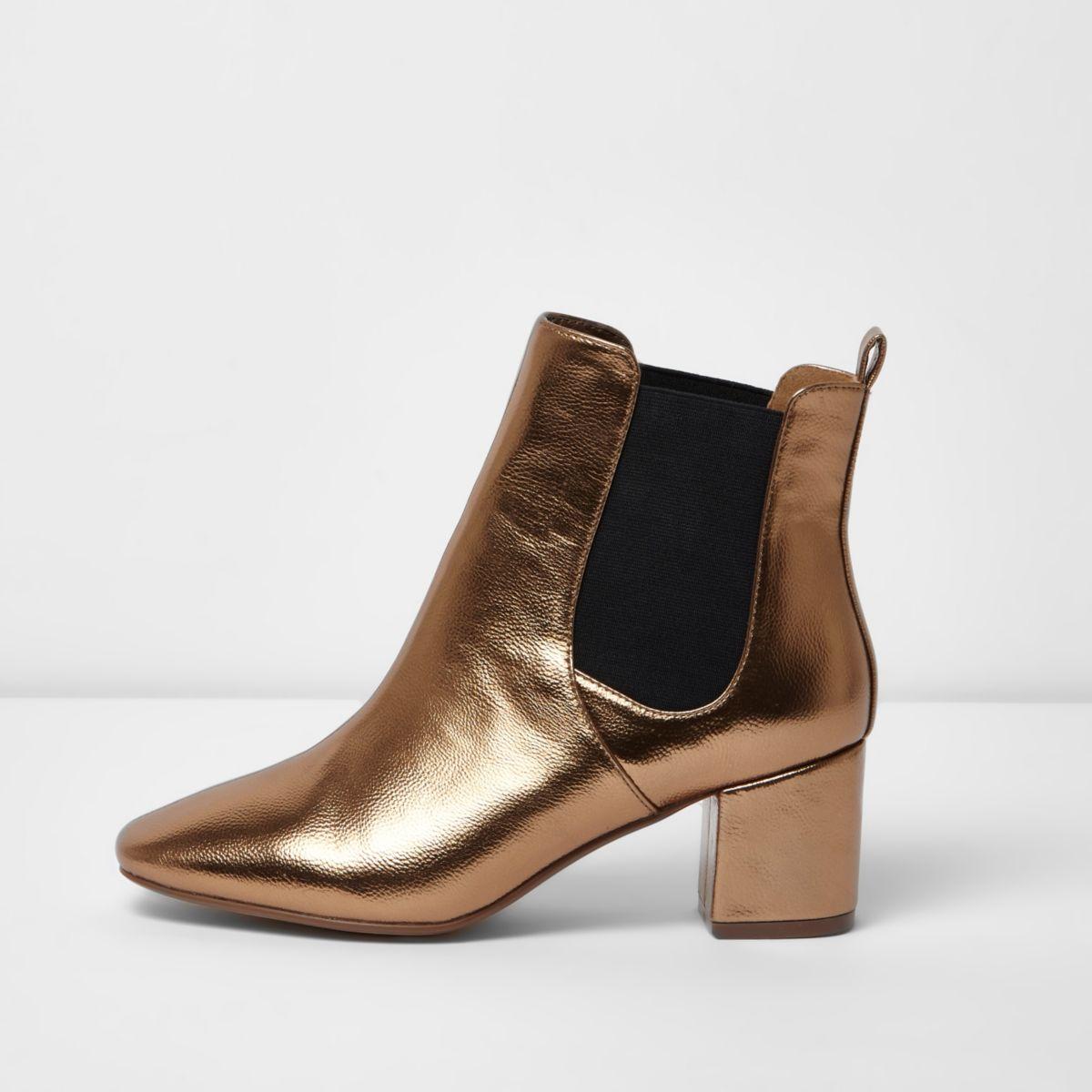Bronze block heel wide fit Chelsea boots