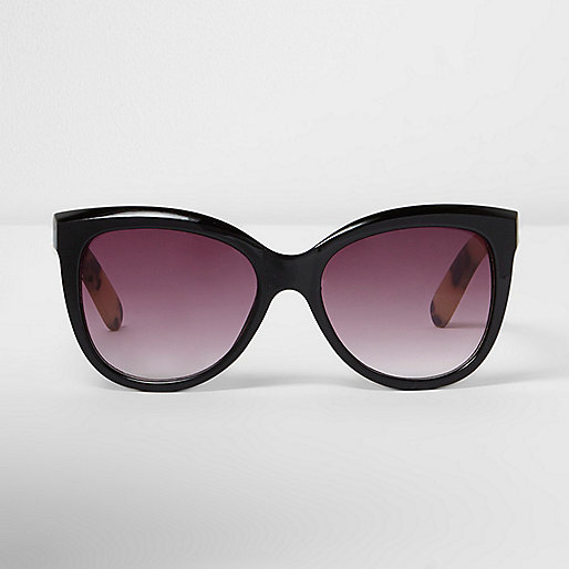 Black cat eye gold tone sunglasses