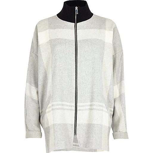 Veste-chemise à carreaux grise zippée avec col roulé